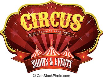 carnaval, circus, spandoek, met, groot bovenst