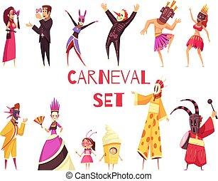 carnaval, conjunto, fiesta
