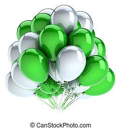 carnaval, décoration, fêtede l'anniversaire, blanc, green., ballons, tas