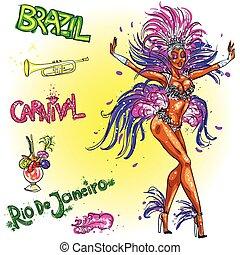 carnaval, dançarino, isolado