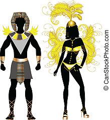 carnaval, egípcio, par