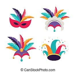 carnaval, fête, clown, danseur, masques, coiffure, chapeau, arrière-plan., purim
