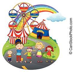 carnaval, famille, heureux