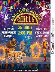 carnaval, feira, mostrar, magia, circo, topo grande, animais