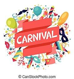 carnaval, festivo, ícones, fundo, objects., celebração