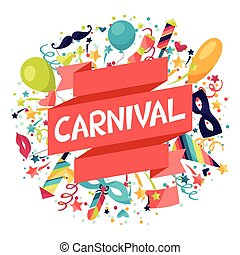 carnaval, festivo, iconos, plano de fondo, objects., ...