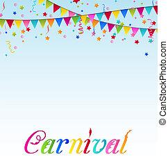 carnaval, fundo, confetti, bandeiras, texto