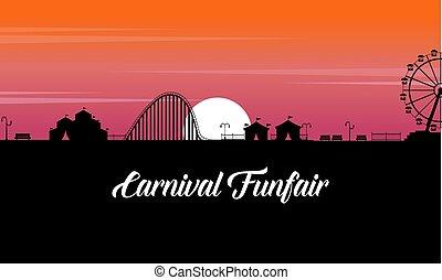 carnaval, funfair, landschap, op, ondergaande zon , silhouette