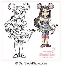 carnaval, girl, couleur, esquissé, mignon, déguisement, ou, souris, rat, coloration, page