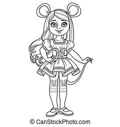 carnaval, girl, esquissé, mignon, déguisement, ou, souris, rat, coloration, page