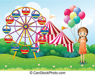 carnaval, jeune, tenue, girl, ballons, heureux