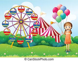 carnaval, joven, tenencia, niña, globos, feliz