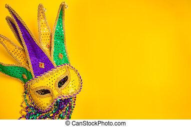 carnaval, máscara, plano de fondo, amarillo