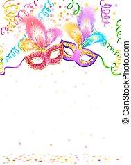 carnaval, máscaras, luminoso, fundo, confetti, branca,...