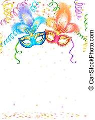 carnaval, maskers, helder, achtergrond, confetti, witte , ...