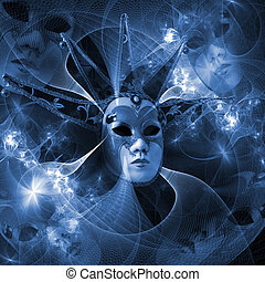 carnaval, modèle, masque, surréaliste, clair, grille, ...