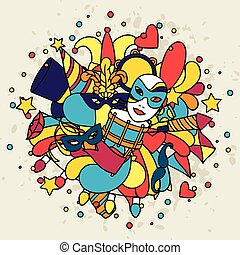carnaval, mostrar, doodle, ícones, objetos, fundo