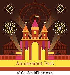 carnaval, parc, fête foraine amusante, amusement, château