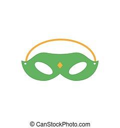 carnaval, style, icône, plat, masque
