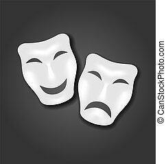 carnaval, teatro, máscaras, ou, comédia, tragédia