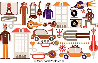carnaval, -, vector, illustratie