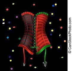 carnaval, vermelho, colete