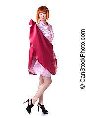 carnaval, vermelho-haired, posar, traje, excitado, modelo