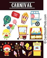 carnaval, vetorial, jogo