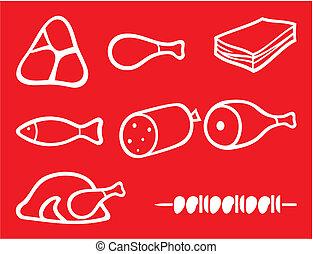 carne, ícones, jogo