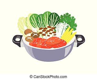carne, aislado, blanco, fondo., olla, vegetales, caliente