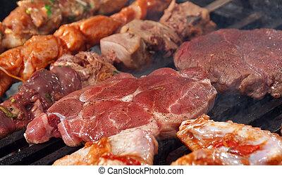 carne, barbecue, cottura