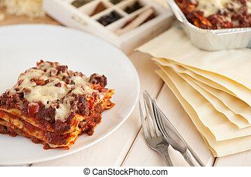 carne, bolonhês, tradicional, lasanha, picado, molho, italiano