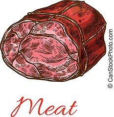 carne, carne, rolo, esboço, para, alimento, desenho