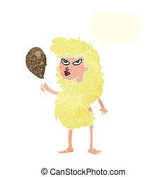 carne, cavewoman, discorso, retro, bolla, cartone animato