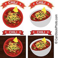 carne, chili, kom, illustratie, con