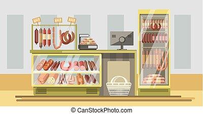 carne, contatore, supermercato, prodotti, dipartimento, fresco