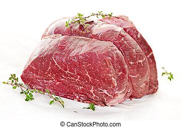 carne crua, assado