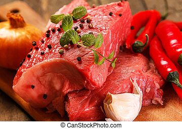 carne crua, e, legumes