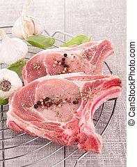 carne cruda, y, ingrediente