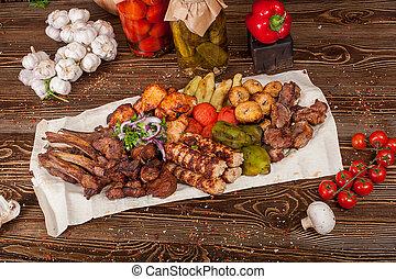 carne, -, crudo, cotto ferri, barbecue, kebabs shish