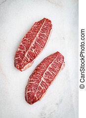 carne, crudo, luz, cima, hoja, filetes, fondo., fresco, vista