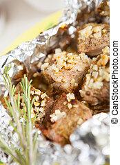 carne cucinò, in, il, forno, con, aglio