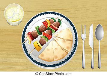 carne, cuspir, pão