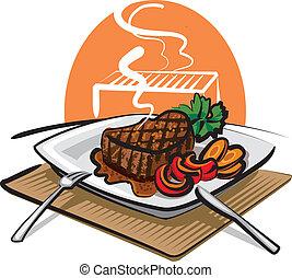 carne de vaca, asado parrilla, filete