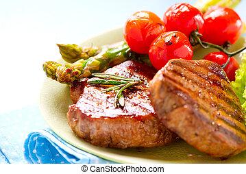 carne de vaca, encima, asado parrilla, filete, carne, blanco