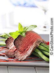 carne de vaca, frijoles, cuerda, asado