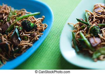 carne, delizioso, wok