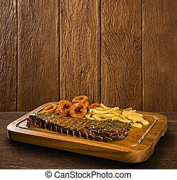 carne di maiale, anelli cipolla, costole, frigge, francese, barbecue