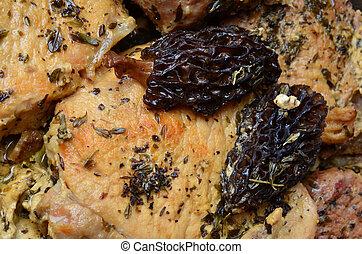 carne di maiale, bistecca, con, morels