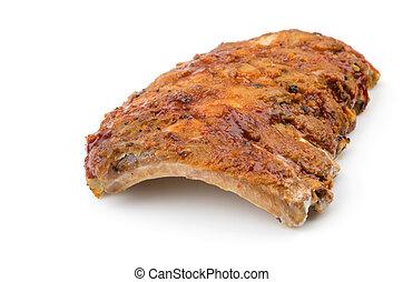 carne di maiale, costole, isolato, fondo, bianco, bbq